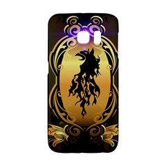 Lion Silhouette With Flame On Golden Shield Galaxy S6 Edge