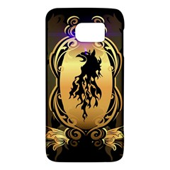 Lion Silhouette With Flame On Golden Shield Galaxy S6