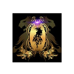 Lion Silhouette With Flame On Golden Shield Satin Bandana Scarf