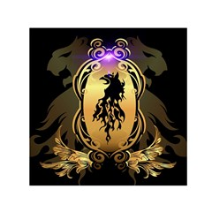 Lion Silhouette With Flame On Golden Shield Small Satin Scarf (square)