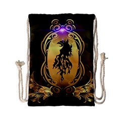 Lion Silhouette With Flame On Golden Shield Drawstring Bag (small)