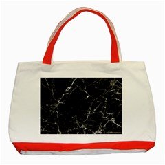 Black marble Stone pattern Classic Tote Bag (Red)