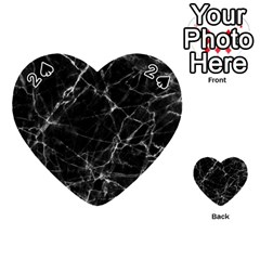 Black marble Stone pattern Playing Cards 54 (Heart)
