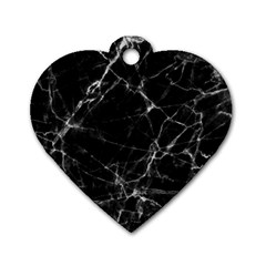 Black marble Stone pattern Dog Tag Heart (One Side)