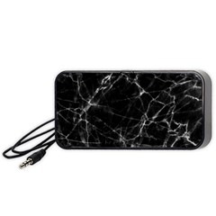 Black Marble Stone Pattern Portable Speaker (black)