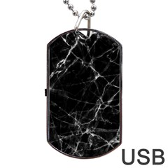 Black marble Stone pattern Dog Tag USB Flash (Two Sides)