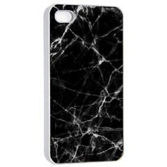 Black marble Stone pattern Apple iPhone 4/4s Seamless Case (White)