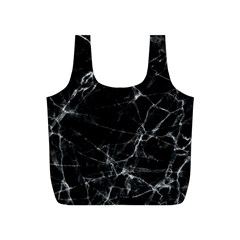 Black marble Stone pattern Full Print Recycle Bags (S)
