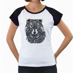 Intricate elegant wolf head illustration Women s Cap Sleeve T