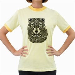 Intricate Elegant Wolf Head Illustration Women s Fitted Ringer T Shirts