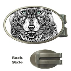 Intricate elegant wolf head illustration Money Clips (Oval)