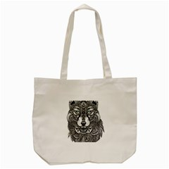 Intricate elegant wolf head illustration Tote Bag (Cream)