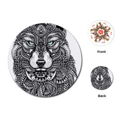Intricate elegant wolf head illustration Playing Cards (Round)
