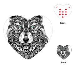 Intricate elegant wolf head illustration Playing Cards (Heart)