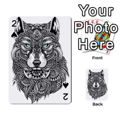 Intricate elegant wolf head illustration Playing Cards 54 Designs