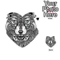 Intricate Elegant Wolf Head Illustration Playing Cards 54 (heart)