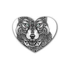 Intricate elegant wolf head illustration Heart Coaster (4 pack)