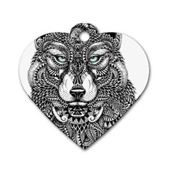 Intricate elegant wolf head illustration Dog Tag Heart (Two Sides)