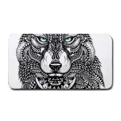 Intricate elegant wolf head illustration Medium Bar Mats