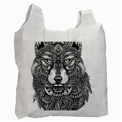 Intricate elegant wolf head illustration Recycle Bag (One Side)