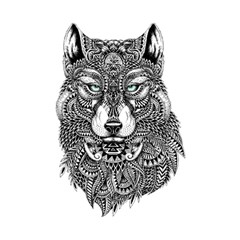 Intricate Elegant Wolf Head Illustration Shower Curtain 48  X 72  (small)