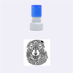 Intricate elegant wolf head illustration Rubber Round Stamps (Small)