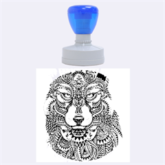Intricate Elegant Wolf Head Illustration Rubber Round Stamps (large)