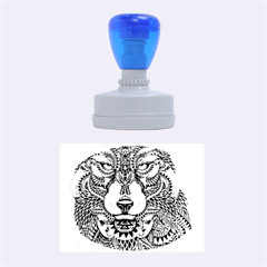 Intricate elegant wolf head illustration Rubber Oval Stamps