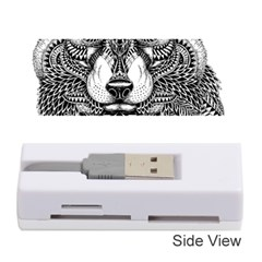 Intricate elegant wolf head illustration Memory Card Reader (Stick)