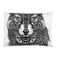 Intricate elegant wolf head illustration Pillow Cases (Two Sides)