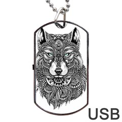 Intricate Elegant Wolf Head Illustration Dog Tag Usb Flash (two Sides)