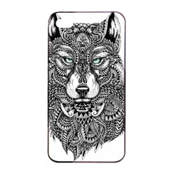 Intricate Elegant Wolf Head Illustration Apple Iphone 4/4s Seamless Case (black)