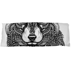 Intricate Elegant Wolf Head Illustration Body Pillow Cases Dakimakura (two Sides)