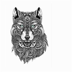 Intricate elegant wolf head illustration Large Garden Flag (Two Sides)