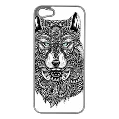 Intricate elegant wolf head illustration Apple iPhone 5 Case (Silver)