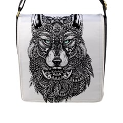 Intricate elegant wolf head illustration Flap Messenger Bag (L)
