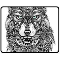 Intricate elegant wolf head illustration Double Sided Fleece Blanket (Medium)