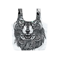 Intricate elegant wolf head illustration Full Print Recycle Bags (S)