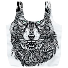 Intricate Elegant Wolf Head Illustration Full Print Recycle Bags (l)