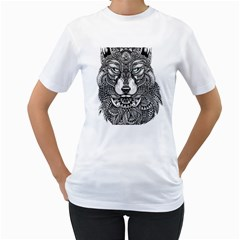 Intricate Elegant Wolf Head Illustration Women s T Shirt (white)