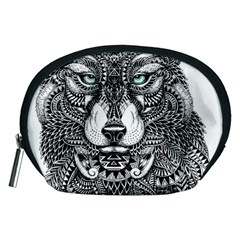Intricate elegant wolf head illustration Accessory Pouches (Medium)