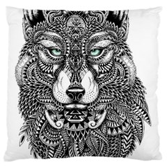 Intricate Elegant Wolf Head Illustration Large Flano Cushion Cases (one Side)