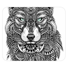 Intricate elegant wolf head illustration Double Sided Flano Blanket (Small)