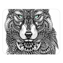 Intricate Elegant Wolf Head Illustration Double Sided Flano Blanket (large)