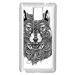 Intricate elegant wolf head illustration Samsung Galaxy Note 4 Case (White)