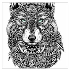 Intricate elegant wolf head illustration Large Satin Scarf (Square)