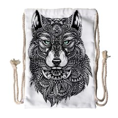 Intricate elegant wolf head illustration Drawstring Bag (Large)