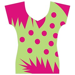 Fuzzy Animals Green And Pink Women s V-Neck Cap Sleeve Top