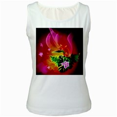Awesome F?owers With Glowing Lines Women s Tank Tops