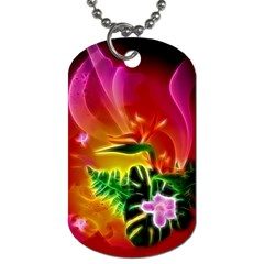 Awesome F?owers With Glowing Lines Dog Tag (One Side)